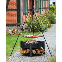 Farm - Mdlt - Grille barbecue Ø 70 cm sur trépied + Brasero avec range bois Solafa Ø 70 cm en acier noir