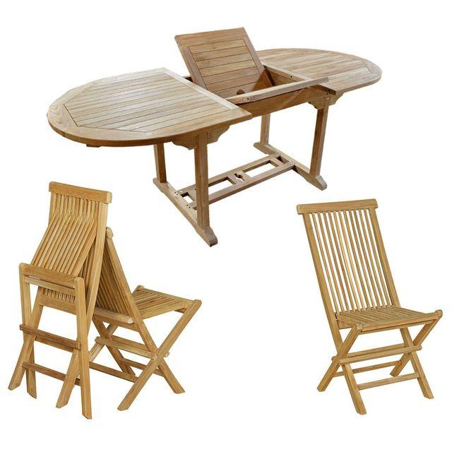 Wood En Stock - salon de jardin en teck brut pour 6 personnes table en teck 120-180 cm + 6 chaises pliantes Bois