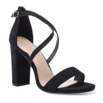 prix le plus bas c6120 c9fb3 Sandales noires à talon carré et brides croisées