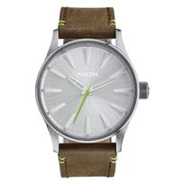 Nixon - Sentry 38 Leather Brown / Lime