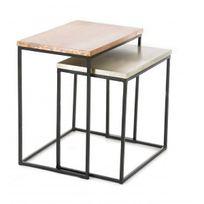 Zago - Tables gigognes carrées en métal - Lot de 2 Coppen