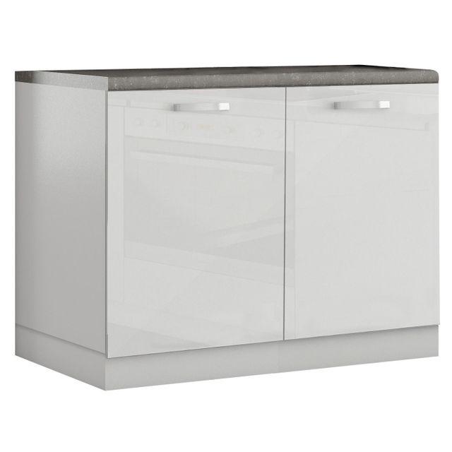 Comforium Meuble bas de cuisine design 100 cm avec 2 portes coloris blanc laqué