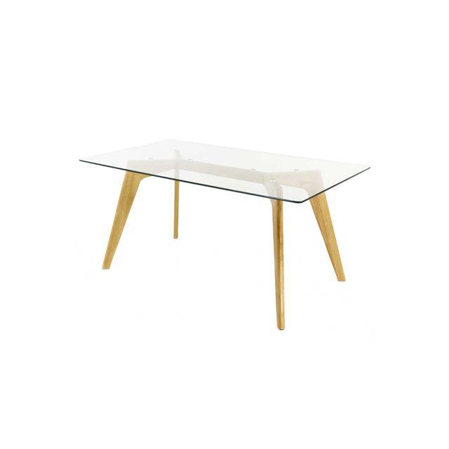 Table en bois 160x90x75cm, plateau en verre
