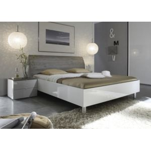envie de meubles lit laqu blanc et t te de lit grise tamara 160x200 pas cher achat vente. Black Bedroom Furniture Sets. Home Design Ideas
