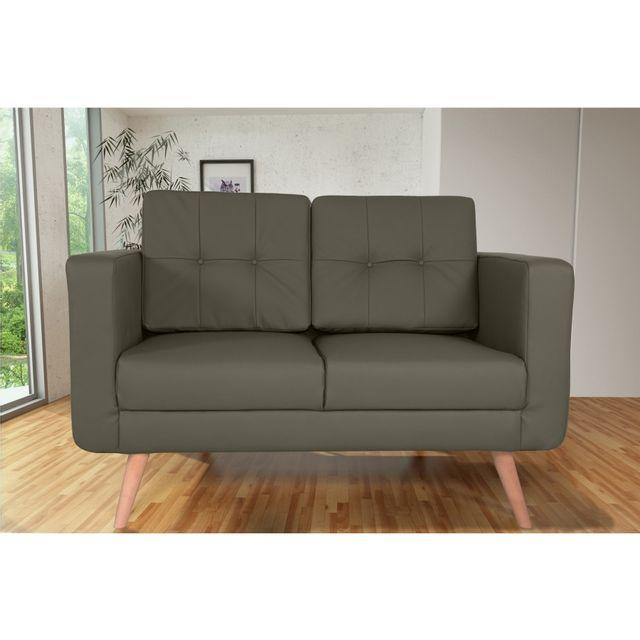 Rocambolesk Canapé fixe Hedvig 2 Pu Soft 24 Taupe sofa divan