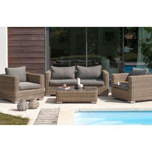 dcb garden salon de jardin 4 places en r sine tress e ronde marron pas cher achat vente. Black Bedroom Furniture Sets. Home Design Ideas