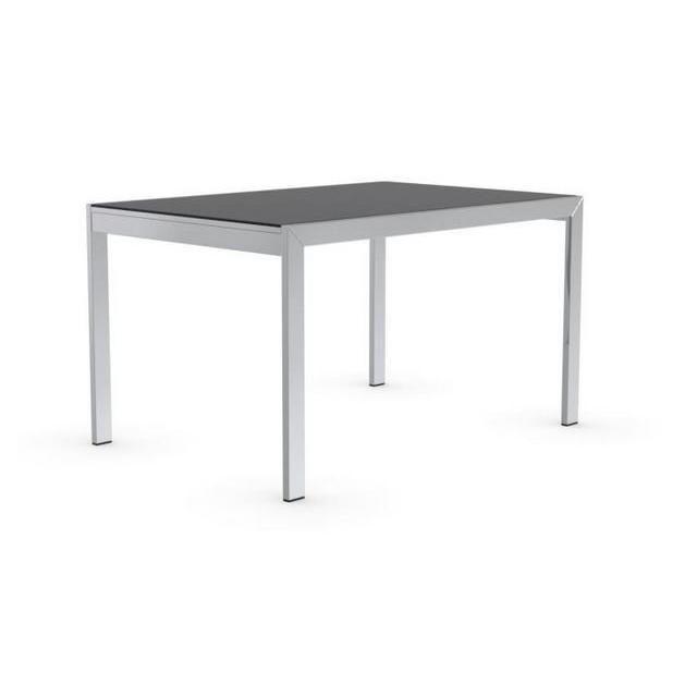 Inside 75 Table repas extensible Key 130x89 plateau verre noir piétement acier chromé