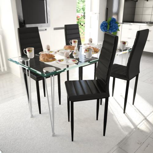 Rocambolesk Superbe Lot de 4 chaises noires aux lignes fines avec une table en verre Neuf