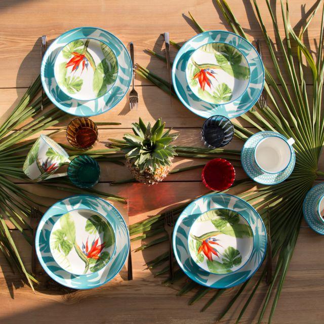 Bruno Evrard - Assiette à dessert décor tropical 18,5cm - Lot de 4 - Porcelaine - Multicouleurs