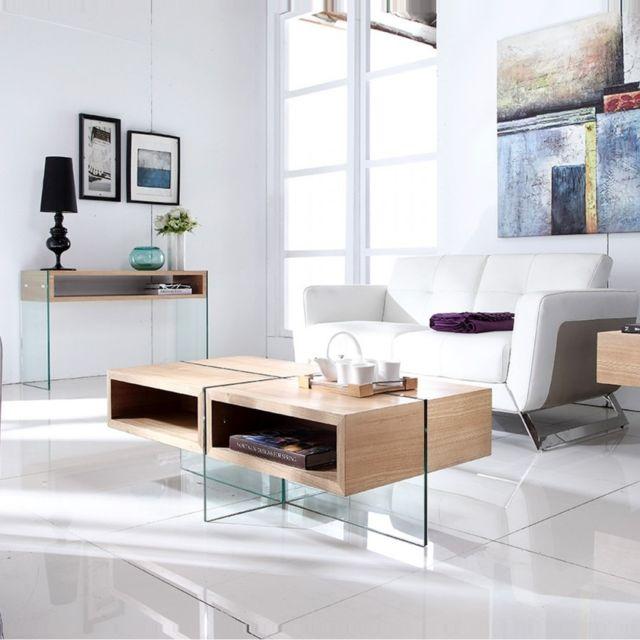 Meubler Design Table basse bois et verre design Woodi