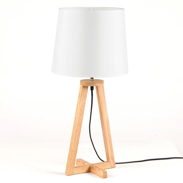 Dlm Lampe A Poser Scandinave En Bois Avec Abat Jour En Tissu Blanc
