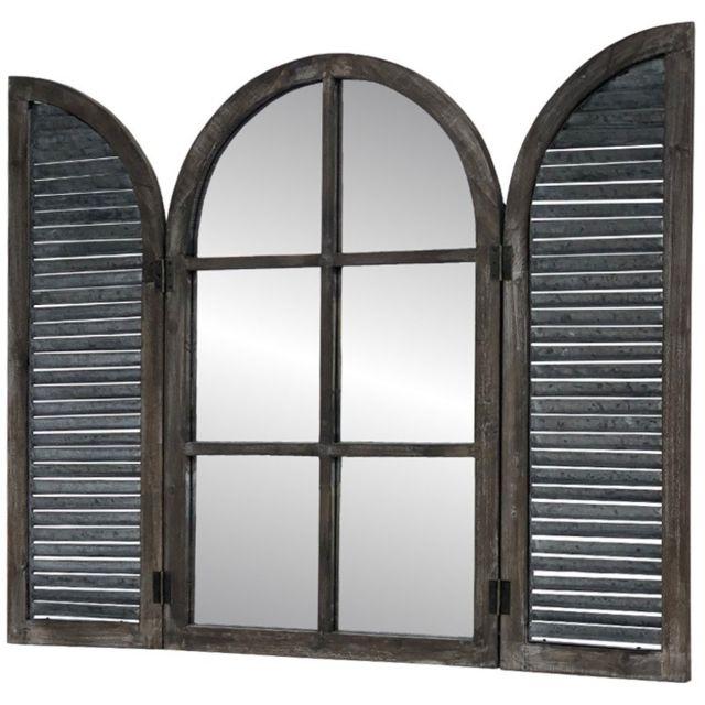 Chemin De Campagne Miroir Fenêtre à Volet Persienne Bois Zinc Mural 90 cm