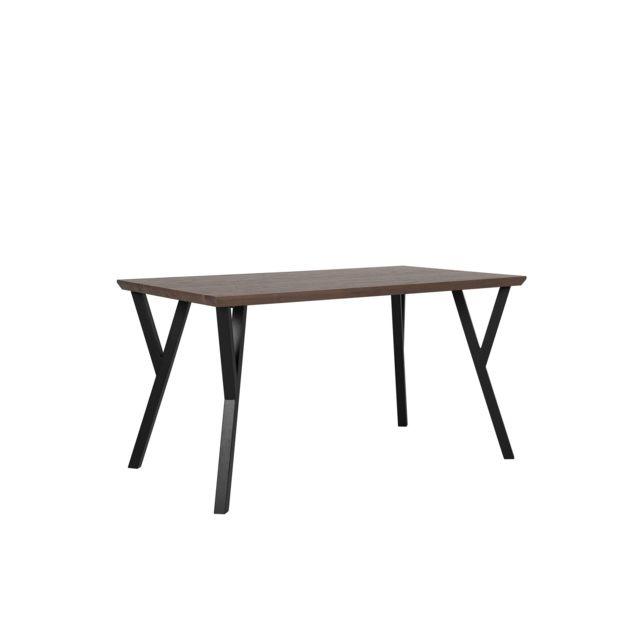 BELIANI Table 140 x 80 cm bois foncé et noir BRAVO - marron