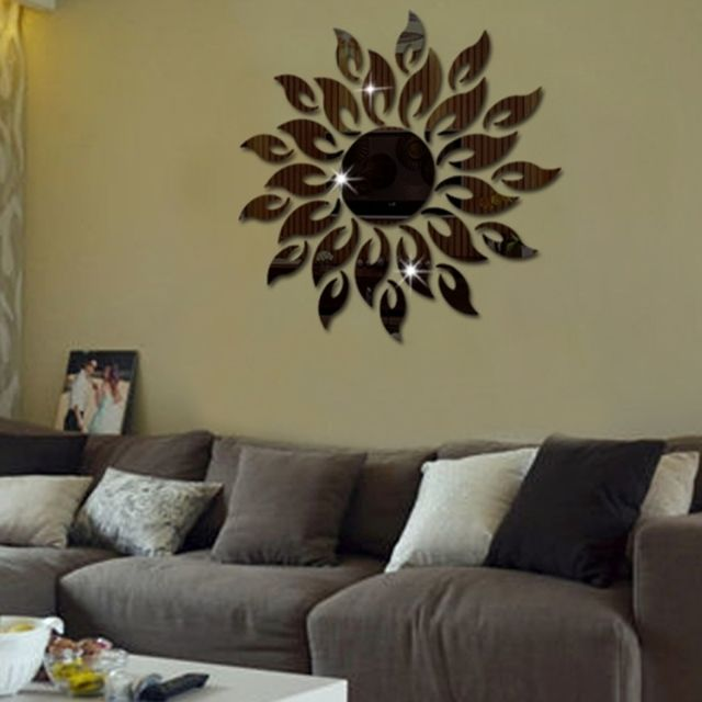 Wewoo - Sticker Mural noir Tournesol Miroir Wall Chambre Salon ...