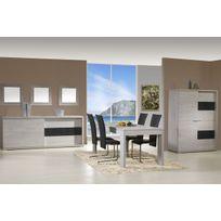 Comforium - Ensemble salle à manger avec meuble bar coloris chêne andes