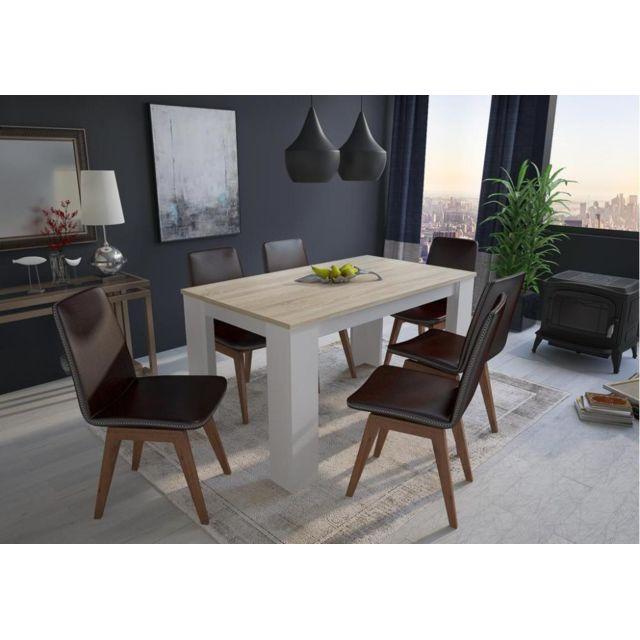 Comfort Table 140 cm rectangulaire. chêne clair et blanc
