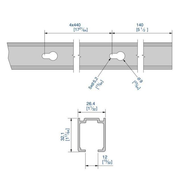 argent Rails haut et bas en aluminium pour SLID/'UP 210-220-230-2,70 m