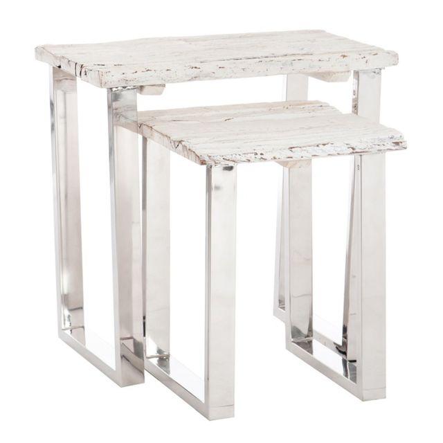 Tousmesmeubles Set de 2 tables gigognes bois flotté blanc et métal - Tanjane - L 60 x l 40 x H 60