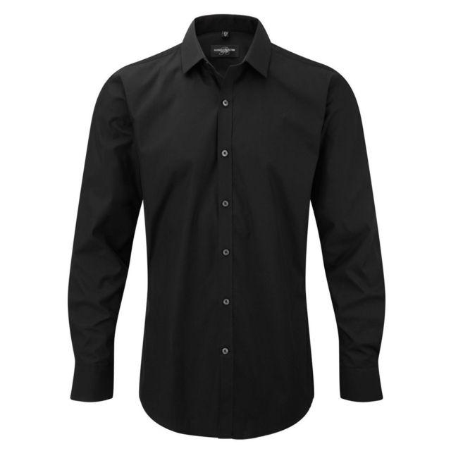 Fashion Cuir Chemise Lycra sans poche Couleur - noir, Taille Homme - Xl