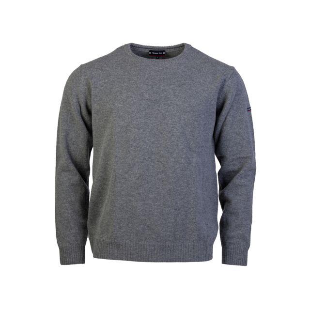 ARMOR-LUX Pull col rond Armor Lux en laine gris chiné