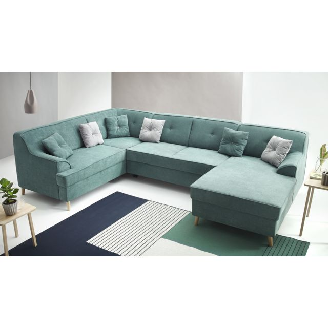 bobochic alfa canap d 39 angle panoramique gauche convertible turquoise 330cm x 214cm x. Black Bedroom Furniture Sets. Home Design Ideas