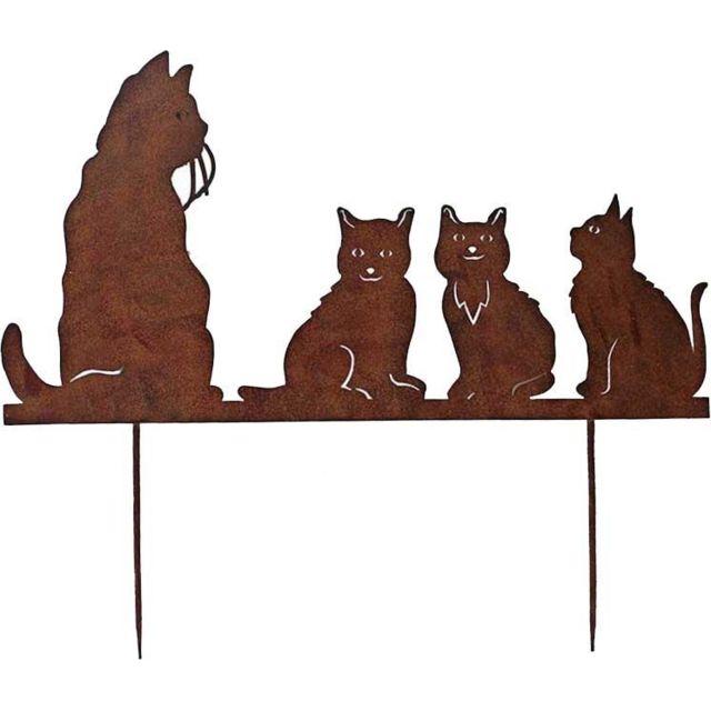 LA GRANDE PRAIRIE Silhouette famille chats sur pique en fonte