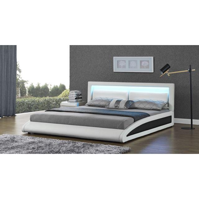 concept usine lit design brixton 160x200 blanc avec dossier t te de lit led bois 160cm x. Black Bedroom Furniture Sets. Home Design Ideas