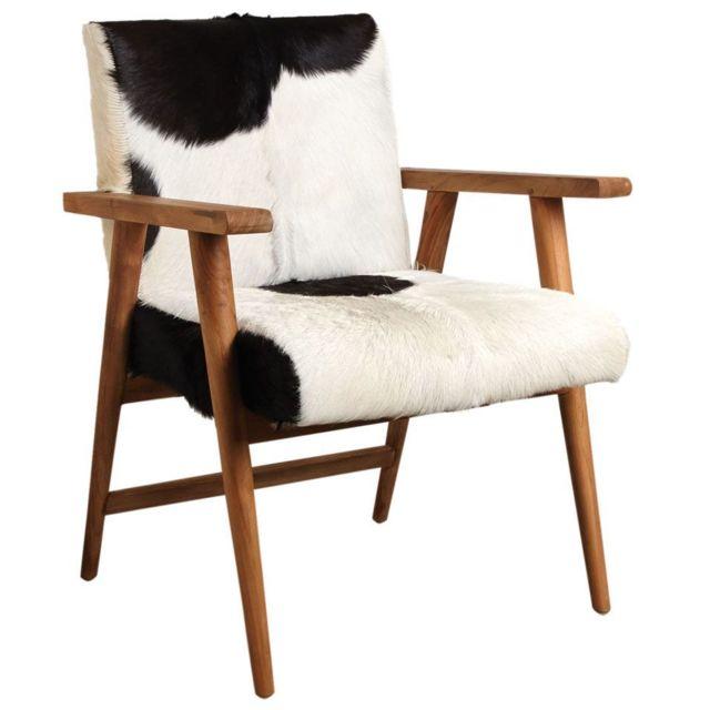 AUBRY GASPARD Fauteuil teck avec peau de chèvre noire