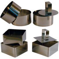 Touslescadeaux - 3 Cercles de présentation Inox avec poussoir + 3 Carrés de présentation Inox avec poussoir - 8 Cm