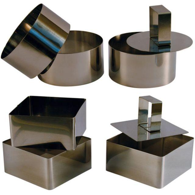 Touslescadeaux 3 Cercles de présentation Inox avec poussoir + 3 Carrés de présentation Inox avec poussoir - 8 Cm