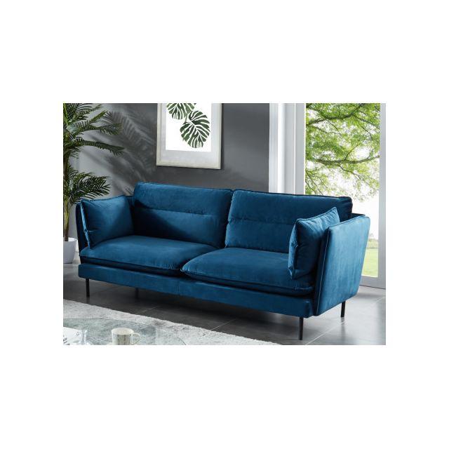 Canapé 3 places MONVAL en velours - Bleu
