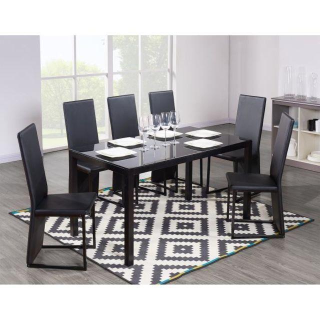 Aucune Power Table a manger + 6 chaises noires pas cher
