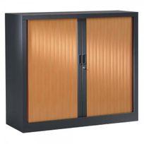 Vinco - Armoire métal à rideaux 100 x 120cm - 2 étagères - anthracite et hêtre - Installation offerte
