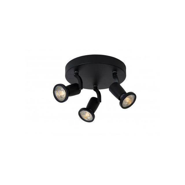 Lucide Jaster-led - Spot Plafond - D20 cm - Led - Gu10 - 3x5W 2700K - Noir