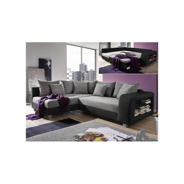 MARQUE GENERIQUE Canapé d'angle convertible tissu et simili KUOPIO - Gris et noir - Angle gauche