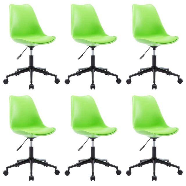 Chaises de salle à manger pivotantes 6 pcs Vert Similicuir