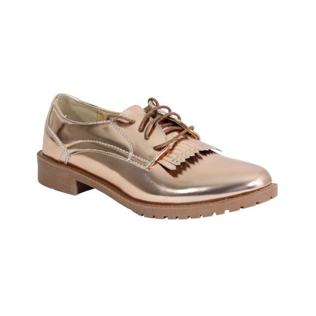 Alistair By Shoes Derbies avec Dentelle Bi Matière - Femme - 40 Champagne