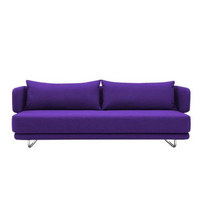 Inside 75 Canapé lit design Jasper en tissu laine violet couchage 70/140 200cm