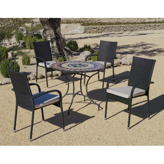 HEVEA - Salon de jardin table ronde mosaïque Cambel Ampuria - pas ...