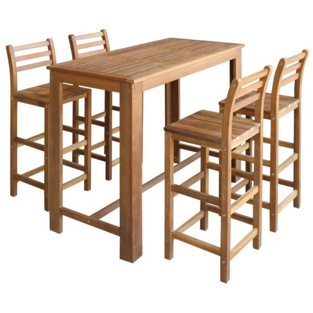 Vidaxl Table et Chaises de Bar 5 pcs Bois d'Acacia Massif Mobilier de Bar