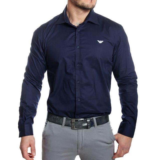 Armani - Emporio - Chemise homme manches longues bleu marine - pas ... 947e84cb8d