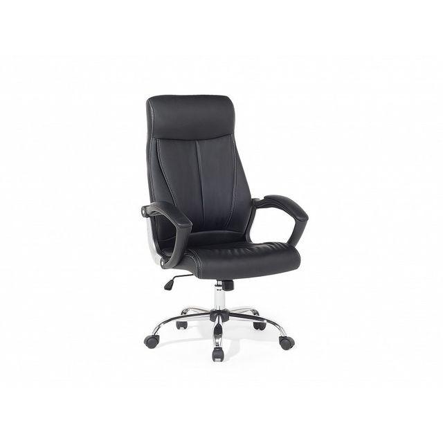 Beliani Chaise de bureau - Bureau - Cuir - Noire - Champion