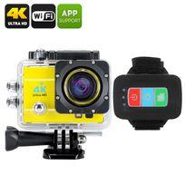 Shopinnov - Camera sports d'action 4K Wifi 170° 16MP Telecommande Zoom 4x Jaune