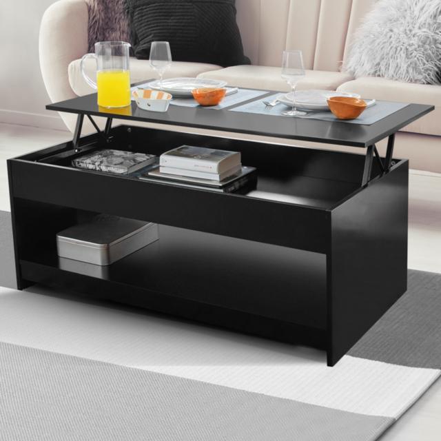 table basse avec plateau relevable noir