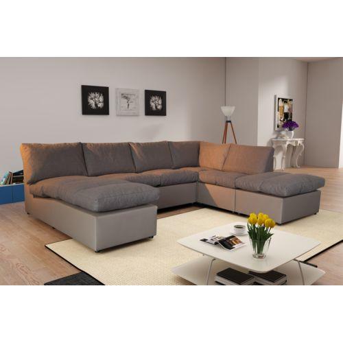 Modern Sofa Canapé d angle modulable Avanti taupe panoramique