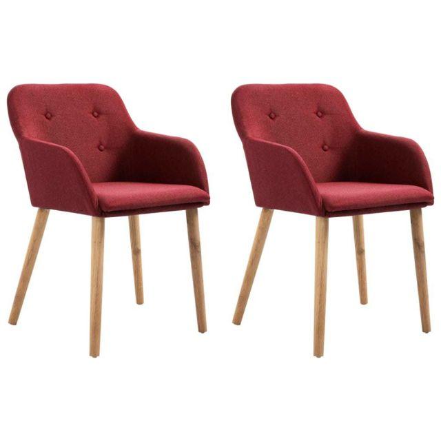 Moderne Fauteuils et chaises selection Yaoundé 2 pcs Chaises de salle à manger Bordeaux Tissu et chêne massif