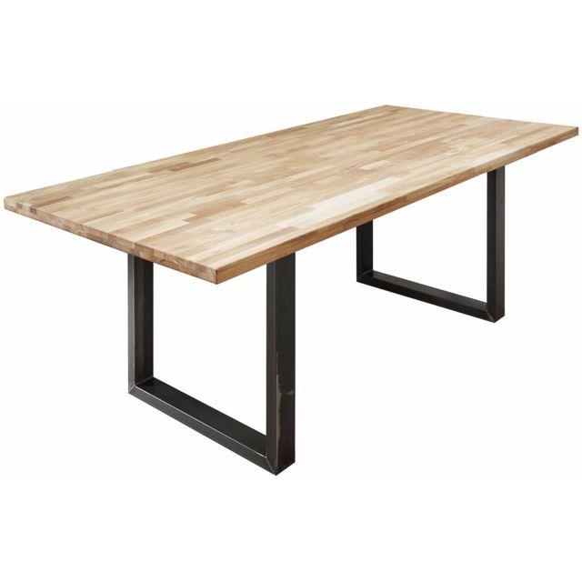 COMFORIUM Table à manger 200 cm en chêne massif avec piétement noir en acier