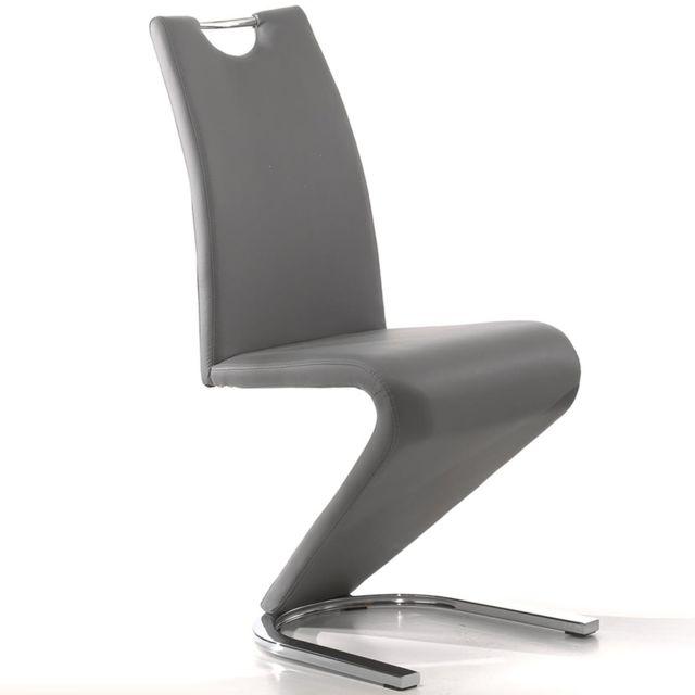Chaise design grise Pu Lidie pour salle à manger lot de 2