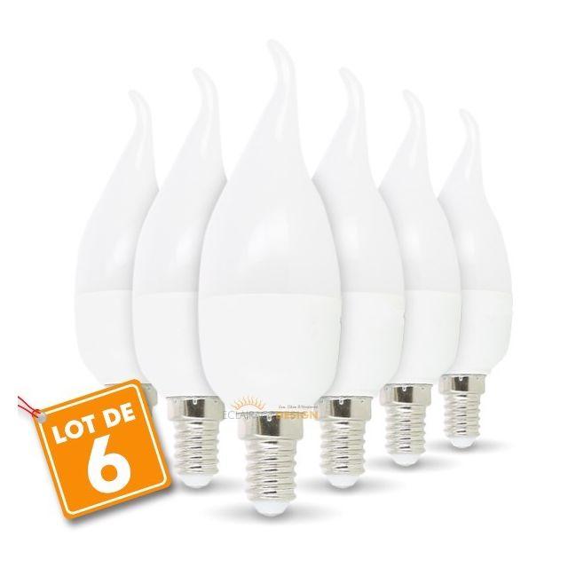 eclairage design lot de 6 ampoules e14 flamme 6w eq 50w. Black Bedroom Furniture Sets. Home Design Ideas