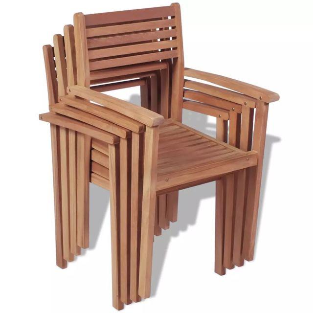 d'extérieur d'extérieur empilable pcs Chaise 4 Chaises Moderne Teck dtsxrChQB